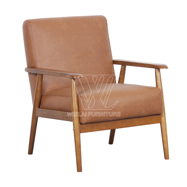 Faux Leather Wooden Frame Accent Chair