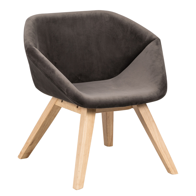 Polyester Upholstery Rubberwood Frame Lounge Chair