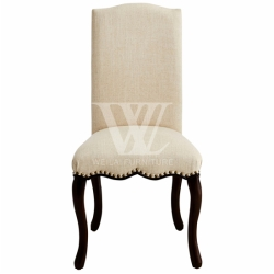 Luxury Solid Wood Legs Hand-Nailed Faux Leather Dining Chair