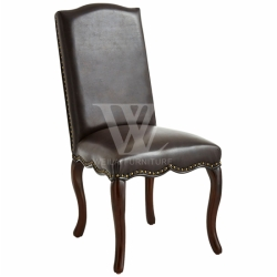 Hand-Nailed Faux Leather Dining Chair