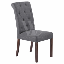 Wooden Legs Tufted Upholstery Dining Chair