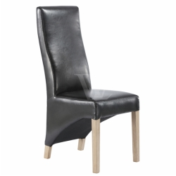 Bonded Leather Oak Legs High Back Dining Chair