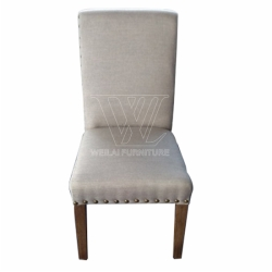 Solid Wood Nailed Fabric Dining Chair
