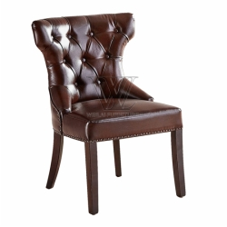 Shining PU Buttoned with Metal Loop Dining Chair