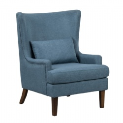 Poly Linen Fabric Hand Tufted Wooden Legs Wing Chair